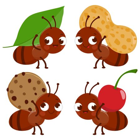 Cute ant workers carrying food. Vector illustration Иллюстрация