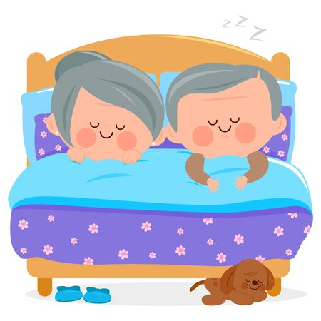 Senior couple sleeping together in their bed. Vector illustration