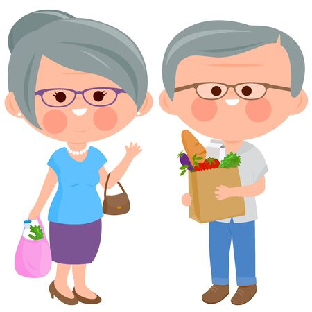 Senior people holding shopping bags with groceries. Vector illustration