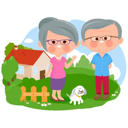 Happy senior couple standing in front of their house. Vector illustration