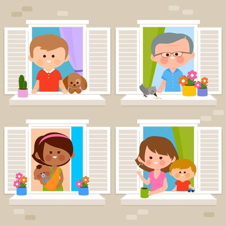 People in their homes at an apartment building looking out of windows. Vector illustration Иллюстрация