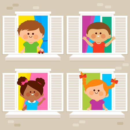 Children in their homes at an apartment building looking out of windows. Vector illustration