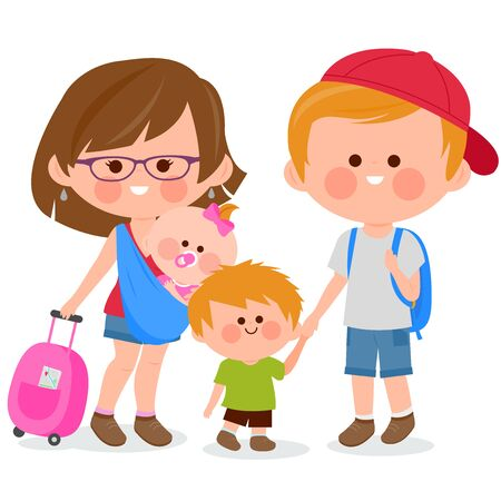 Tourist couple with small children, carrying travel bags. Vector illustration