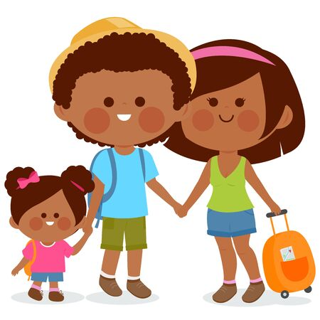 African American family. Tourist couple with a small child, carrying travel bags. Vector illustration Иллюстрация