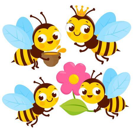 Cute bees collection. Vector illustration Иллюстрация