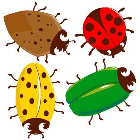 Cartoon bugs collection. Vector illustration Иллюстрация