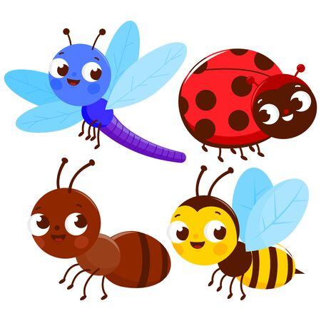 Set of cute colorful bugs. A dragonfly, a ladybug, an ant and a bee. Vector illustration Illusztráció