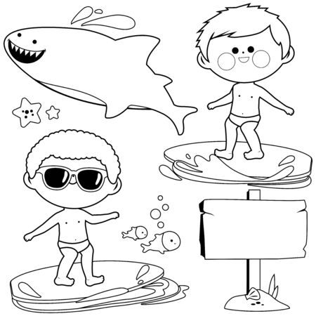 Boys surfing in the sea. Vector black and white coloring page Иллюстрация