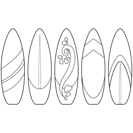 Surfboards collection. Vector black and white coloring page Иллюстрация