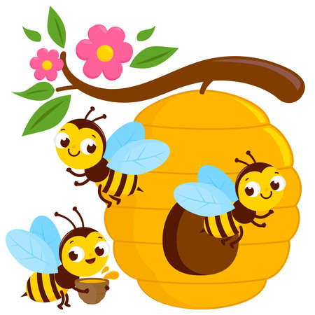 Busy bees flying around a beehive. Vector illustration Иллюстрация