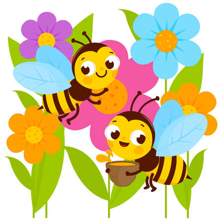 Busy bees flying around colorful flowers. Vector illustration