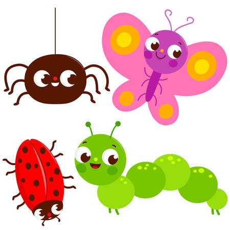 Set of cute colorful bugs. A spider, a butterfly, a beetle and a caterpillar. Vector illustration