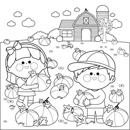 Children at the farm picking pumpkins at the pumpkin patch. Vector black and white coloring page