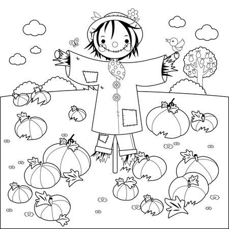 Rural landscape with pumpkin field and a scarecrow. Vector black and white coloring page