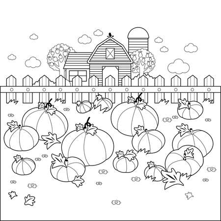 Rural landscape with a pumpkin field and a farmhouse. Vector black and white coloring page Иллюстрация