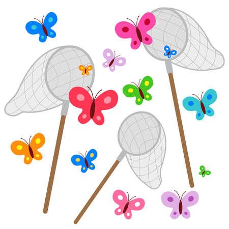Butterfly nets catching butterflies. Vector illustration