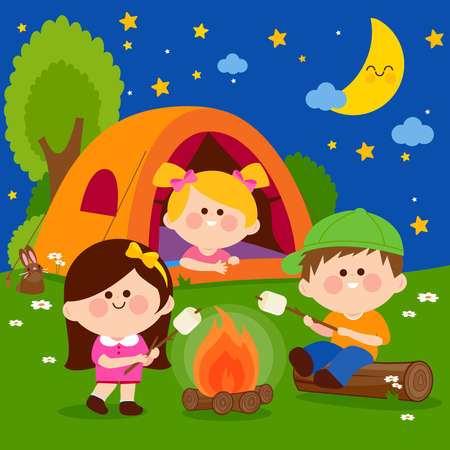 Children in a forest camping site roasting marshmallows on a bonfire at night. Vector illustration