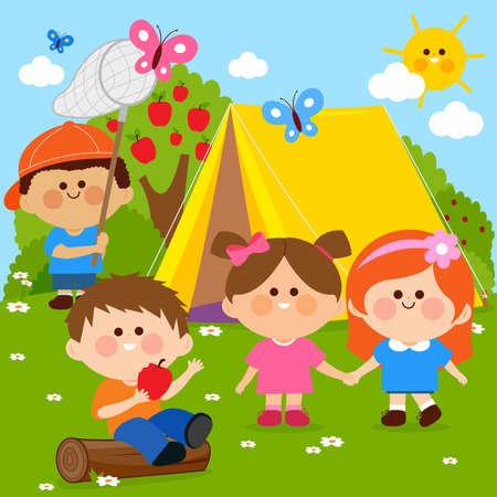 Happy children playing in a forest camping site. Vector illustration Иллюстрация