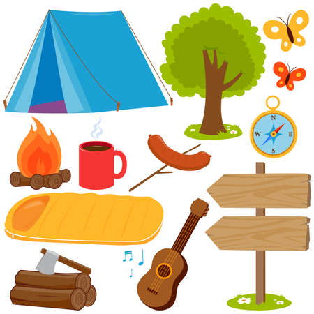 Camping objects and equipment collection. Vector illustration set Иллюстрация