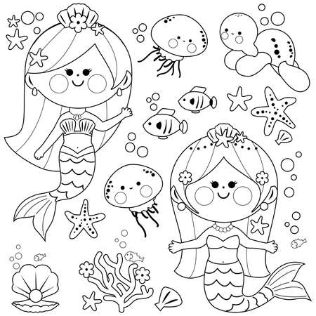Beautiful mermaids and sea animals. Vector black and white coloring page