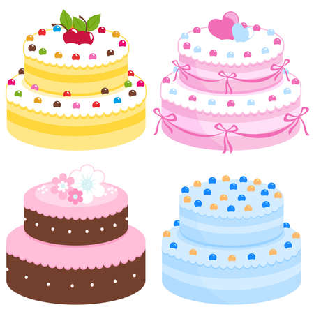 Vector illustration collection of different types of sweet baked cake decorated with candy, cherries, flowers, hearts and ribbons. Иллюстрация