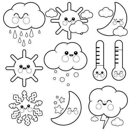 Cute weather icons. Vector black and white coloring page