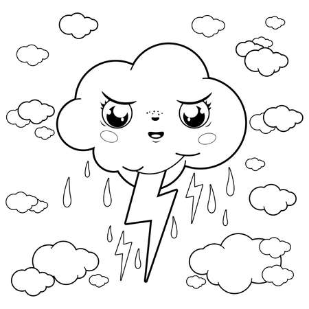 Stormy cloud character raining and thunder. Vector black and white coloring page