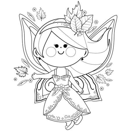 Autumn fairy. Vector black and white coloring page