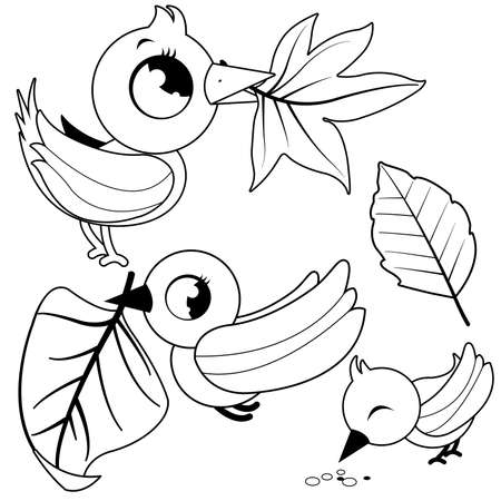 Cute birds holding dry Autumn leaves. Vector black and white coloring page