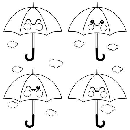 Cute umbrella characters. Vector black and white coloring page
