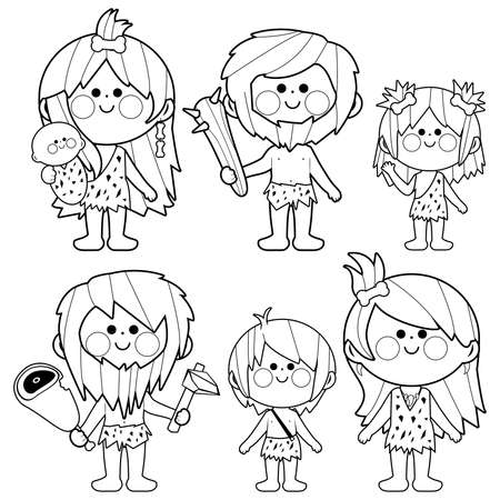 Cavemen people. Vector black and white coloring page Иллюстрация