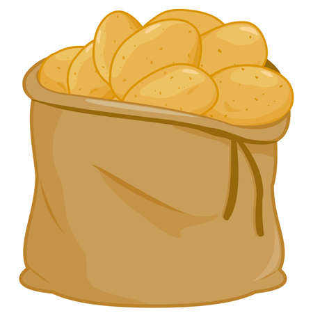 Burlap sack full of raw potatoes. Vector illustration.
