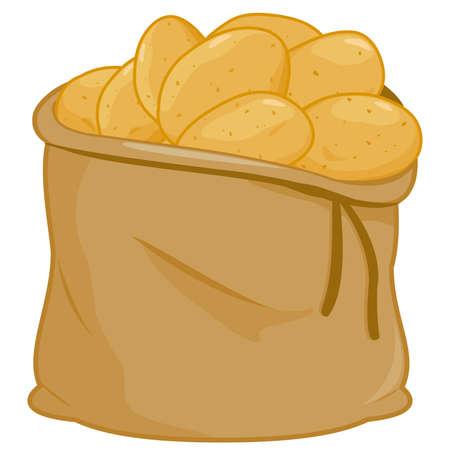 Burlap sack full of raw potatoes. Vector illustration. Illustration