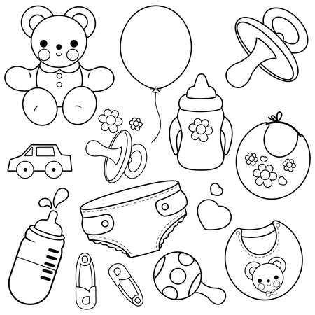 Baby accessories. black and white coloring page