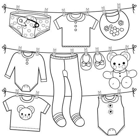 Baby girl and baby boy clothes and accessories hanging on clothes line. black and white coloring page