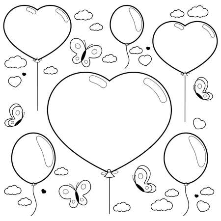 Balloons and butterflies flying in the sky. Black and white coloring page Иллюстрация