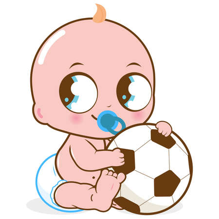Baby boy playing with a soccer ball. Vector Illustration