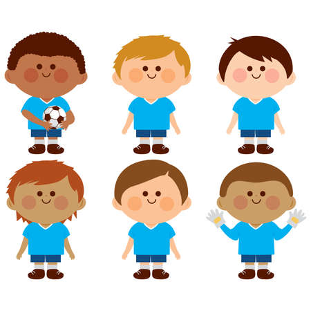 Group of children football players wearing soccer uniforms. Vector illustration