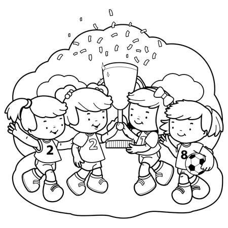 Girls soccer players champions holding a trophy. Vector black and white coloring page Çizim
