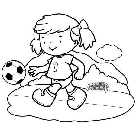 Girl soccer player. Vector black and white coloring page