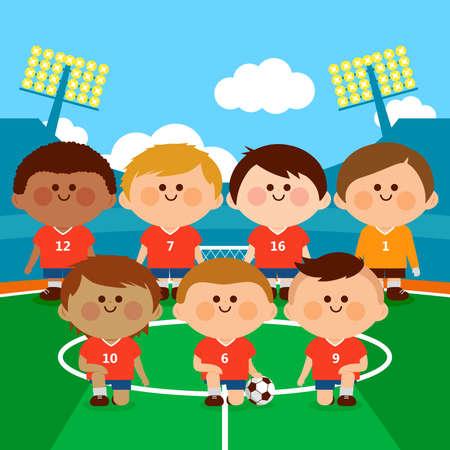 Children soccer player team in a stadium. illustration