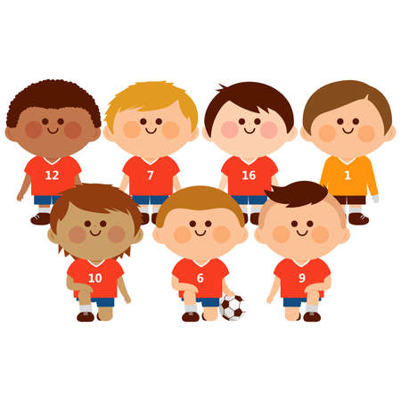 Children soccer team. Vector illustration Çizim