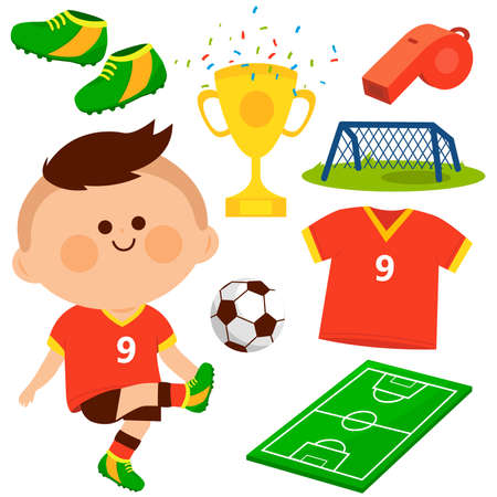 Little boy playing soccer. Vector collection