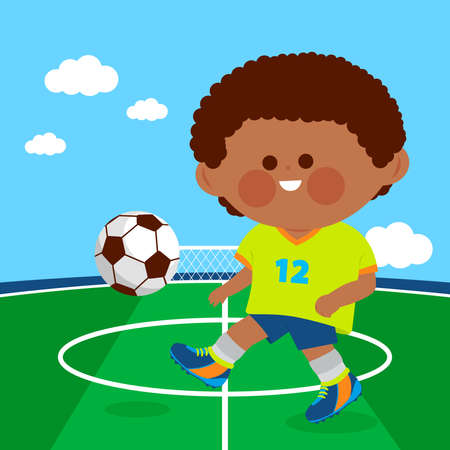 Little boy playing soccer. Vector illustration Çizim