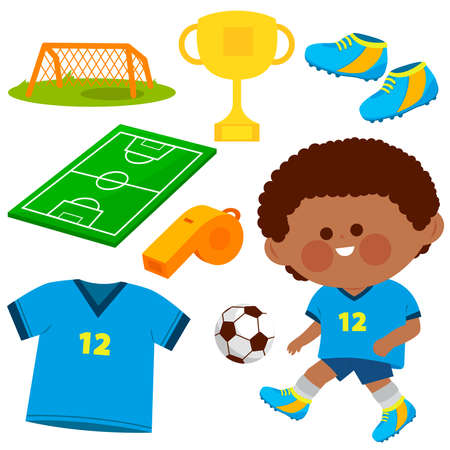 Child football player. Vector soccer illustration collection Çizim