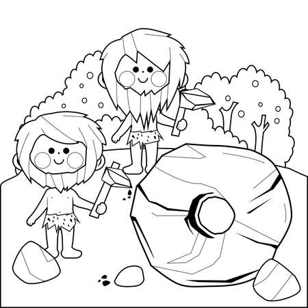 Cavemen inventing the wheel. Vector black and white coloring page