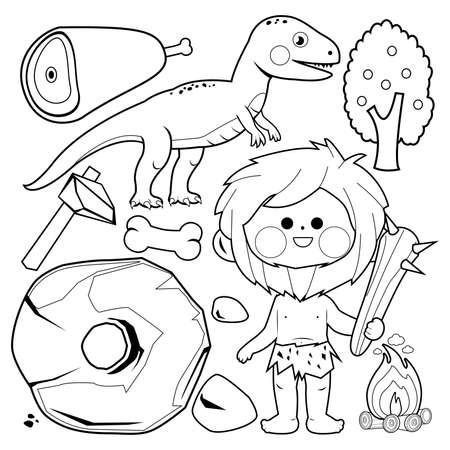 Prehistoric caveman and dinosaur set. Vector black and white coloring page