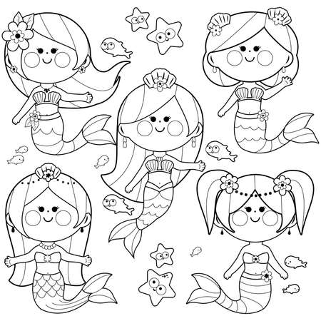 Cute mermaids vector illustration set. Vector black and white coloring page