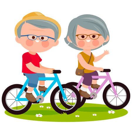 Elderly couple riding their bicycles at the park. Vector illustration