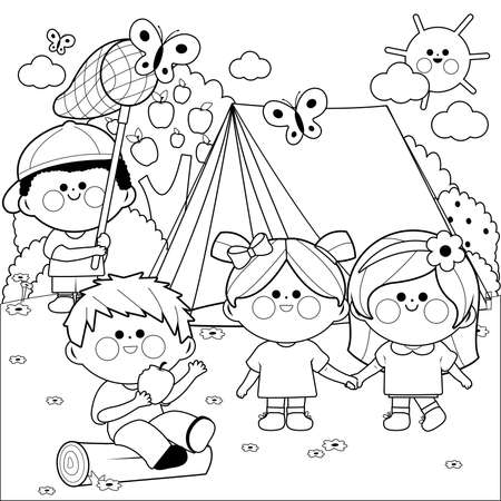 Happy children playing in a forest camping site. Vector black and white coloring page